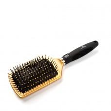 Щетка массажная для волос прямоугольная широкая, нейлоновые штифты, золотая TNL