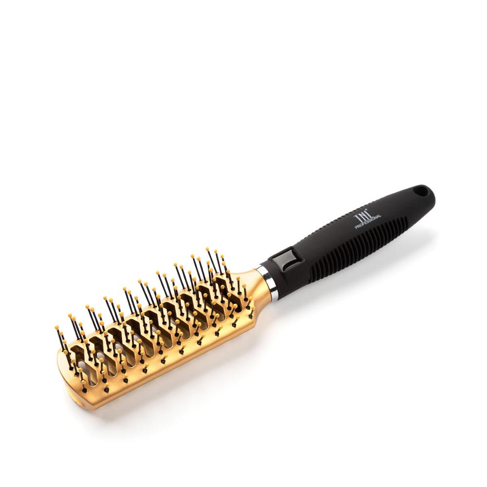 Щетка массажная для волос прямоугольная, продувная, нейлоновые штифты, золотая TNL