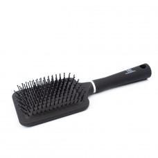 Щетка массажная для волос прямоугольная, нейлоновые штифты, черная TNL