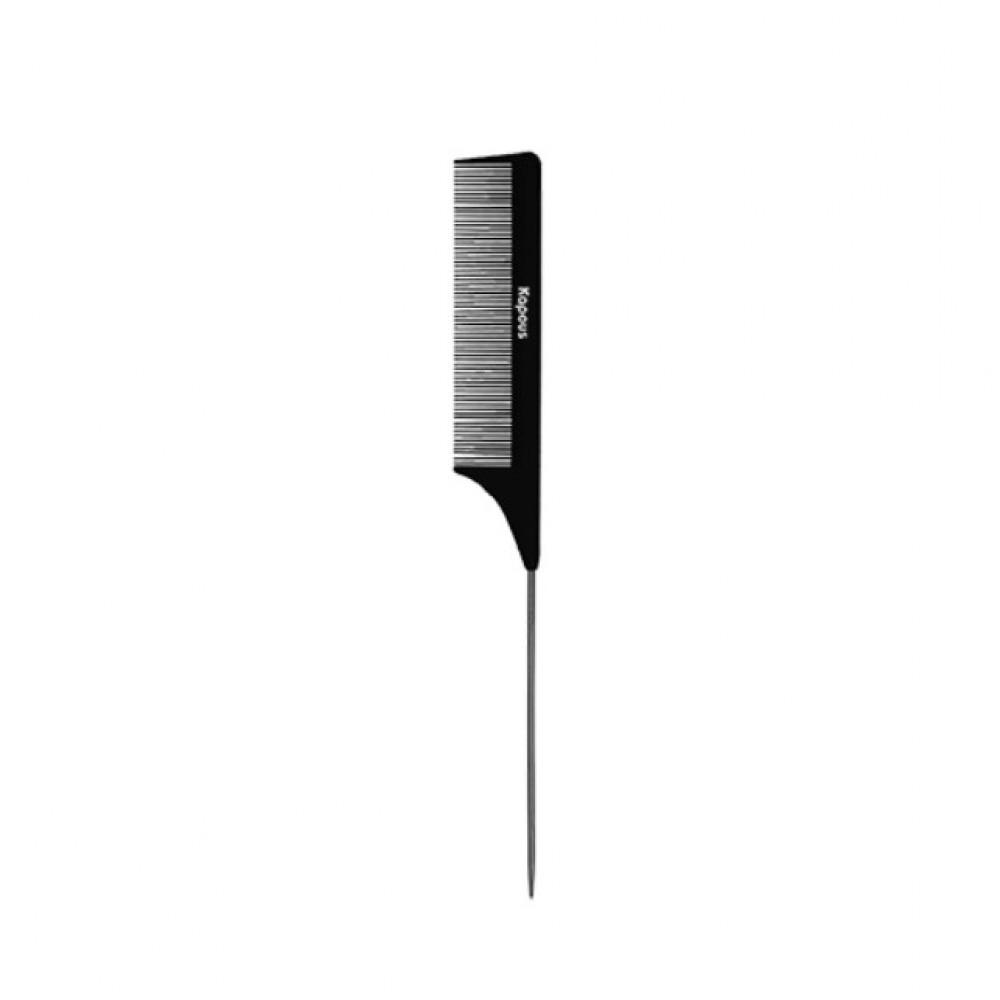 Расческа парикмахерская с металлическим хвостиком «Carbon fiber» 231*27 мм Kapous